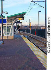 Light Rail Fort Snelling Station - Light Rail Transit or LRT...