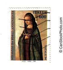 Italian post stamp, Mary announced