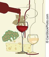 vinho, faixa, vidro, vinho, queijo