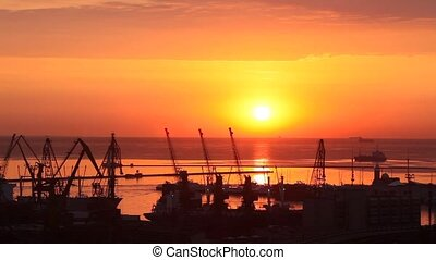 sunrise in the harbor of Odessa, Ukraine (Time Lapse)