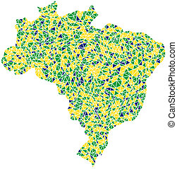 Map of Brasil in a mosaic of triangles