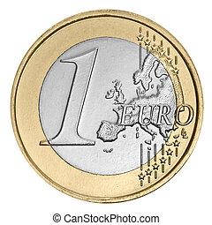 One  euro coin - One euro coin on white