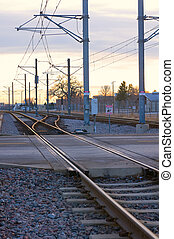 Light Rail Line or LRT at Intersection - Light Rail Transit...