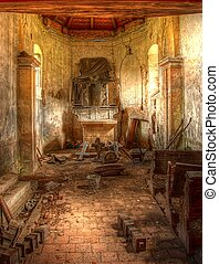in old cemetary chapel in Stvolinky - 3pics HDR, non...