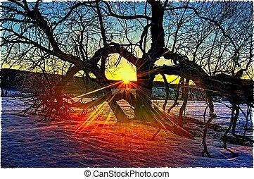 sunrise over Kvilda - 3pics HDR, non filtered only...