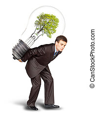 Businessman with eco lamp on back. Isolated on white...