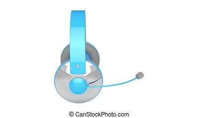 Headset - Headphones with microphone rotates on white