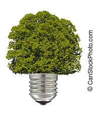 electric lamp with green tree