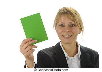 smiling business women with positive green card