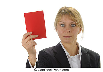 angry business women with negative red card
