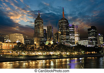 Sunset over Melbourne Architecture, Australia