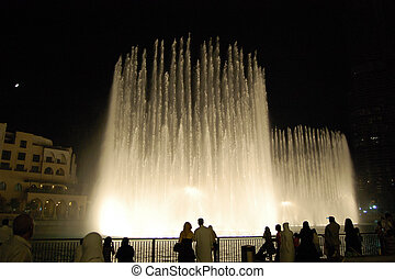 DUBAI, UAE - AUGUST 27: The Dancing fountains in Dubai downtown