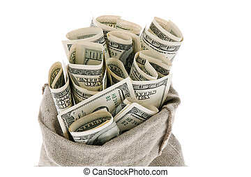 u.s. dollars bills in a sack - many dollar bills in a sack....