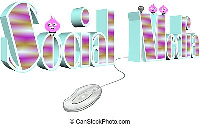 social media plugged in - 3d rendering of social media...