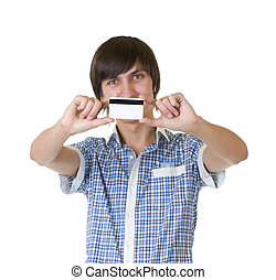 Young man happy holding credit card