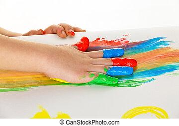 niño, dedo, pinturas, colores