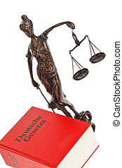 german getz. german code - a judge with a german law book in...