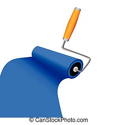 paint roller with blue trace vector illustration