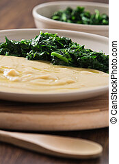Fava bean puree with spinach.