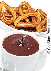 churros, chocolate, típico, español, dulce,...