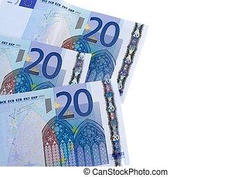 20 euro banknotes on white background