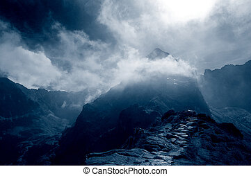 Stormy mountains landscape - Dark stormy mountains...