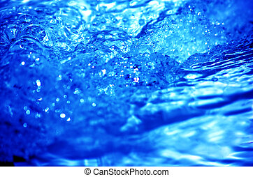 Refreshing water power Clean blue water background