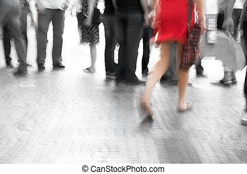 Among black and white big city rush - Busy big city street....