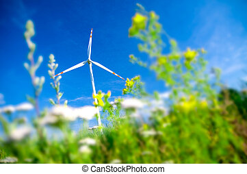 Environment fiendly landscape. Wind turbine on the field