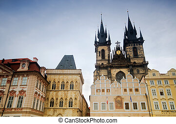 Prague old city square, Tyn Church - Prague Staromestske...