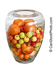 Decorative glass vase with fruits