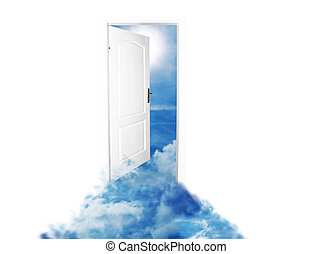 Door to new world. Sky version. Isolated on white