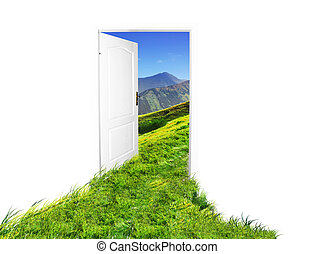 Door to new world. Easy editable image. See also different...