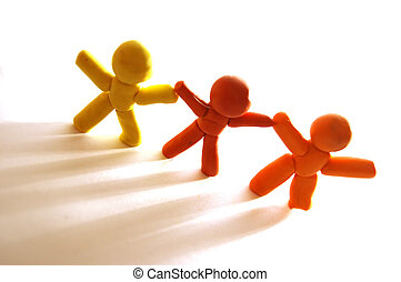 Together we stay - 3 plasticine figures staying together and...