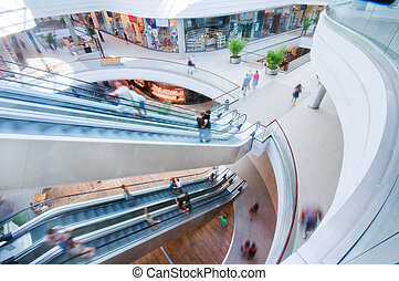 Modern shopping mall People in rush