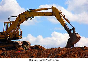 Excavator working - Large excavator during work
