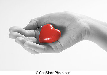 Heart in hand conceptual image. Love, care, health themes.