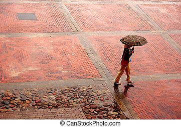 Alone in the rain - Woman with umbrella walking through...