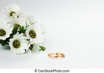 boda, anillos, flores