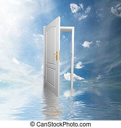puerta, nuevo, mundo, esperanza, éxito, nuevo,...