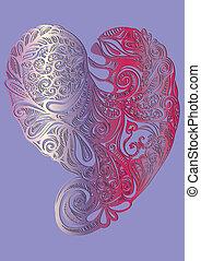illustratie hart vector - handgetekende zilverkleurig...