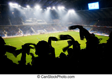 Fans celebrating goal - Silhouettes of fans celebrating a...