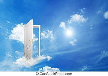 PORTA, Novo, mundo, esperança, sucesso, Novo,...