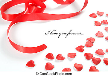 Love background. Small hearts and ribbon - Small red hearts...