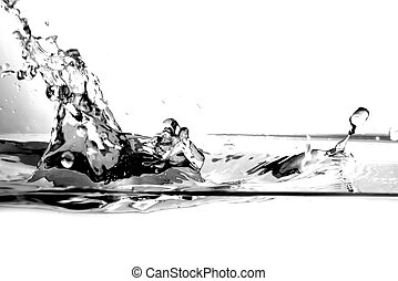 Fresh water splash on white background. B&W version