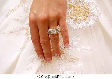 Wedding ring - Wedding background. Bride's hand with ring on...