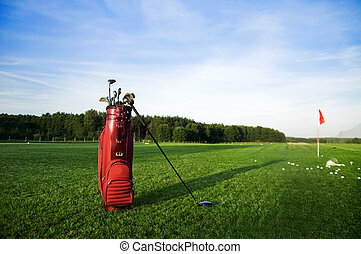 Golf gear on the golf field