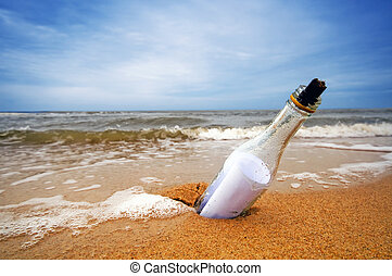 Message in the bottle from ocean. Travel, tourism, coming...
