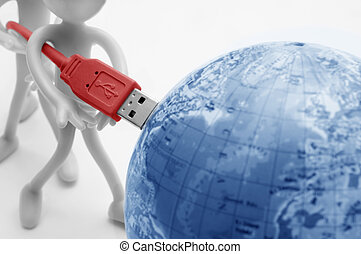 USB plugs into earth Conceptual - Plugging USB into earth...