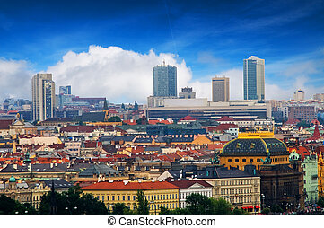 Prague. View from Hradcany - Colorful Prague. View from...
